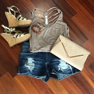 Tops - Brown tank top with strappy open back